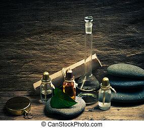 liten medicinflaska, oljor, vällukt, labb, parfym