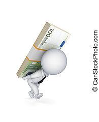 liten, person, med, a, packe, av, euro, på, den, back.