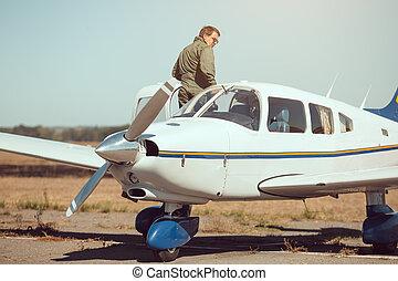 liten, plan, affär,  pilot