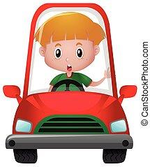 liten pojke, drivande, in, röd bil