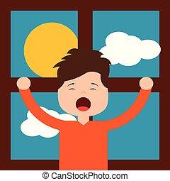liten pojke, framme, morgon, dag, sträckande, fönster