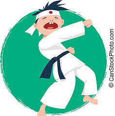 liten pojke, gör, karate