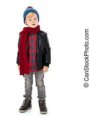 liten pojke, in, a, hatt, och, scarf.