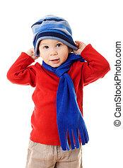 liten pojke, in, vinter kläder