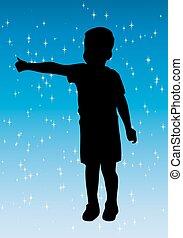 liten pojke, silhuett, med, blå, bac