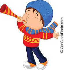 liten pojke, tecknad film, trumpet