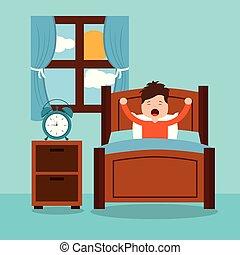 liten pojke, vakna, in, den, morgon