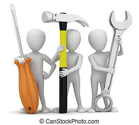 liten, repairers., 3, folk