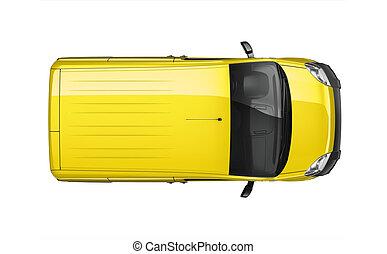 liten, skåpbil, gul