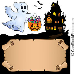 liten, spöke, halloween, pergament