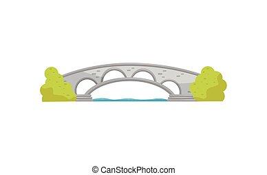 liten, stena bågen, bro, och, grön, bushes., gång, över, den, river., landskap, element, för, stad, park., lägenhet, vektor, design