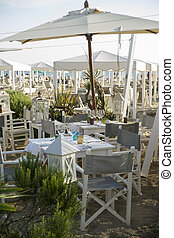 liten, strand, restaurang