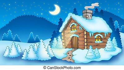 liten, stuga, vinter landskap