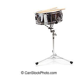 liten trumma, vit fond