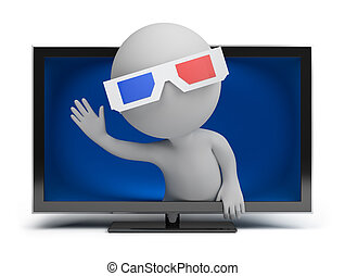 liten, tv, 3, -, folk