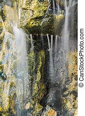 liten, vattenfall, på, a, klippa vett