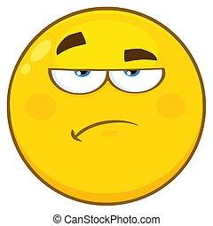litera, żółta twarz, smutek, zrzędny, wyrażenie, rysunek, emoji
