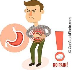 litera, żołądek, chory, ból