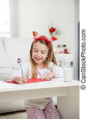 litera, claus, pisanie, święty, dziewczyna, szczęśliwy