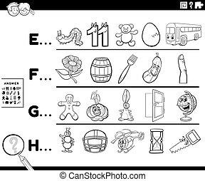 litera, działalność, dzieciaki, kolor, pierwszy, strona, słowo, książka