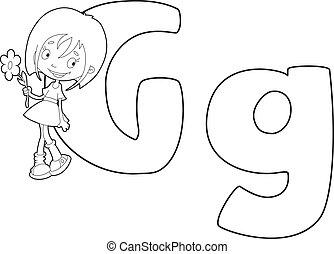 litera, dziewczyna, konturowany, g
