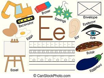 litera, e., angielski, alphabet., połączyć, przedimek określony przed rzeczownikami, dots., oświatowy, gra, dla, children.