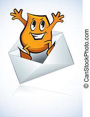 litera, -, e-poczta, rysunek, skok