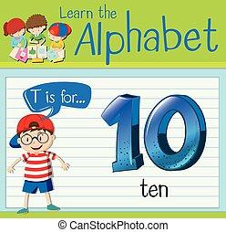 litera, flashcard, t, dziesięć