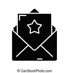 litera, ilustracja, płaski, pokwitowanie, ikona, czarnoskóry, wektor, symbol, glyph, poznaczcie., pojęcie