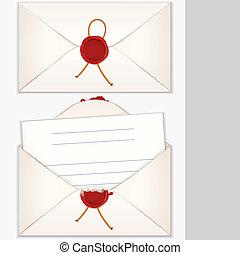 litera, koperta, otworzony, opieczętowany, czysty