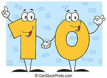 litera, liczba, dziesięć, rysunek
