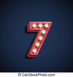 litera, liczba, ilustracja, realistyczny, wektor, lampy