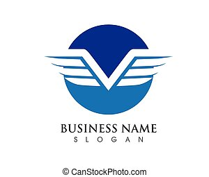 litera, logo, skrzydło, szablon, v
