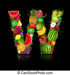 litera, owoc, kształt, w, soczysty