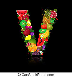 litera, owoc, soczysty, kształt, v