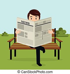 litera, park, avatar, gazeta, biznesmen, czytanie