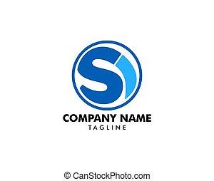 litera, początkowy, si, projektować, szablon, logo