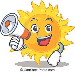 litera, posiadanie, słońce, megafon, lato, rysunek