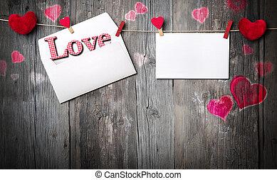 litera, romantyk, zaproszenie, -