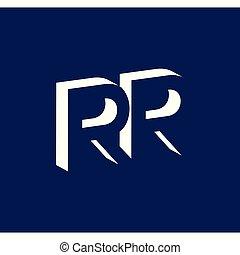 litera, rr, przestrzeń, początkowy, odmowa, wektor, szablon, logo, ikona