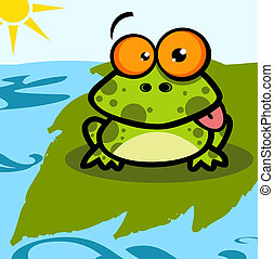 litera, rysunek, żaba