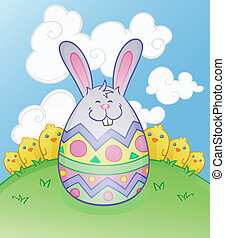 litera, rysunek, jajko, królik, wielkanoc