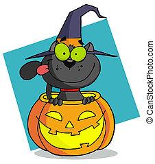 litera, rysunek, kot, halloween