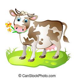 litera, rysunek, krowa