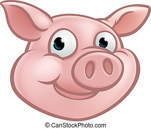 litera, rysunek, maskotka, świnia, sprytny