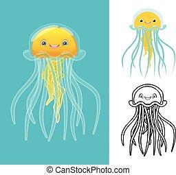 litera, rysunek, meduza
