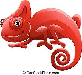 litera, rysunek, zwierzę, kameleon