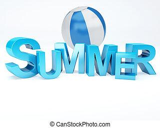 litera, słowo, barwny, 3d, lato, ilustracja