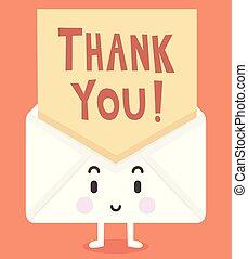 litera, ty, dziękować, ilustracja, maskotka