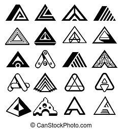 litera, vektor, trojúhelník, monogram., abstraktní, základy, emblém, geometrický tvořit